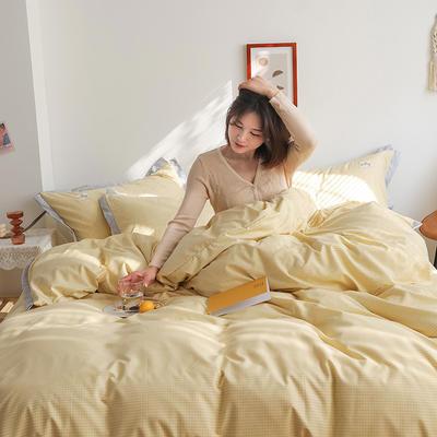 2020新款-格子系列四件套 床单款四件套1.5m(5英尺)床 柠檬黄