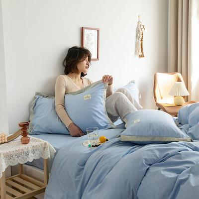 2020新款-格子系列四件套 床单款四件套1.5m(5英尺)床 天空蓝