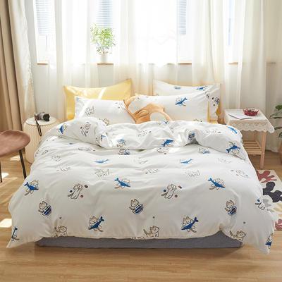 2020新款-小清新四件套 床单款三件套1.2m(4英尺)床 爱吃鱼