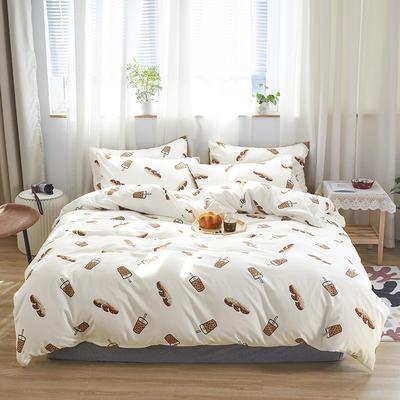 2020新款-小清新四件套 床单款三件套1.2m(4英尺)床 波波奶茶