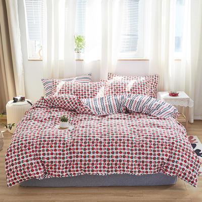 2020新款-小清新四件套 床单款四件套1.5m(5英尺)床 草莓气泡