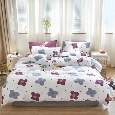 2020新款-小清新四件套 床单款四件套1.5m(5英尺)床 紫色发发