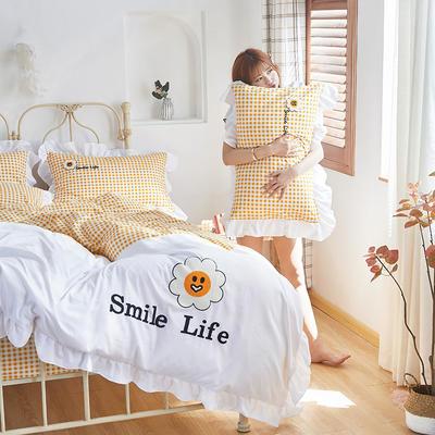 2020新款-全棉13372太阳花系列四件套 床单款四件套1.5m(5英尺)床 微笑生活-蜡笔黄