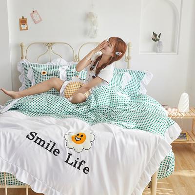 2020新款-全棉13372太阳花系列四件套 床单款四件套1.5m(5英尺)床 微笑生活-抹茶绿
