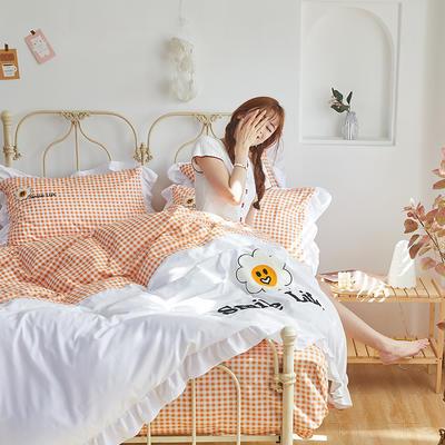 2020新款-全棉13372太阳花系列四件套 床单款四件套1.5m(5英尺)床 微笑生活-甜蜜橙
