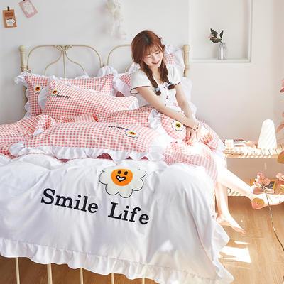 2020新款-全棉13372太阳花系列四件套 床单款四件套1.5m(5英尺)床 微笑生活-樱花粉
