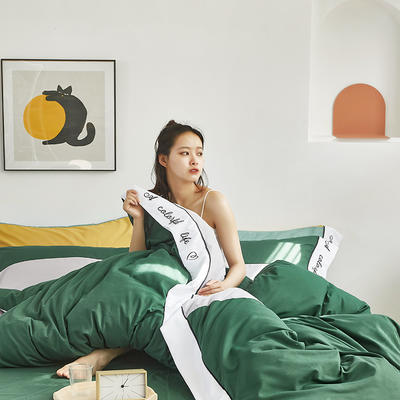 2020新款-纯色双拼绣花系列四件套 床单款四件套1.8m(6英尺)床 炫-钢琴灰+墨绿