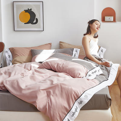 2020新款-纯色双拼绣花系列四件套 床单款四件套1.8m(6英尺)床 炫-藕粉色+碳灰