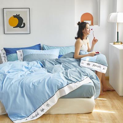 2020新款-纯色双拼绣花系列四件套 床单款四件套1.8m(6英尺)床 炫-天空蓝+雾蓝