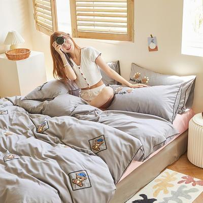 2020新款-镶边毛巾绣系列四件套 床单款四件套1.8m(6英尺)床 泰迪-灰