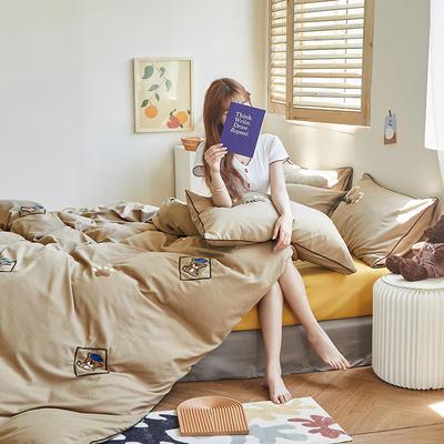 2020新款-镶边毛巾绣系列四件套 床单款四件套1.8m(6英尺)床 泰迪-咖