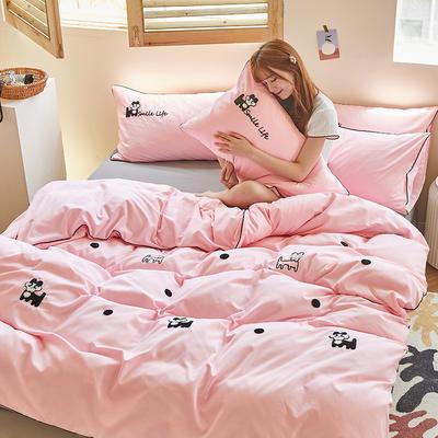 2020新款-镶边毛巾绣系列四件套 床单款四件套1.5m(5英尺)床 旺财-粉