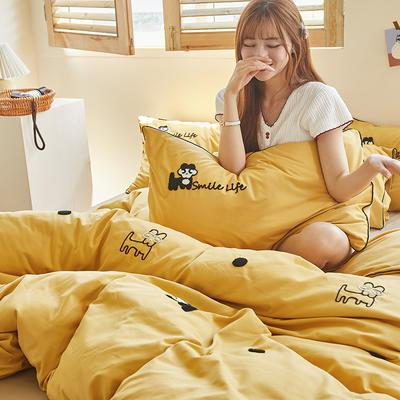 2020新款-镶边毛巾绣系列四件套 床单款四件套1.8m(6英尺)床 旺财-黄