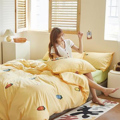 2020新款-镶边毛巾绣系列四件套 床单款四件套1.5m(5英尺)床 维C-黄