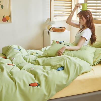 2020新款-镶边毛巾绣系列四件套 床单款四件套1.8m(6英尺)床 维C-绿