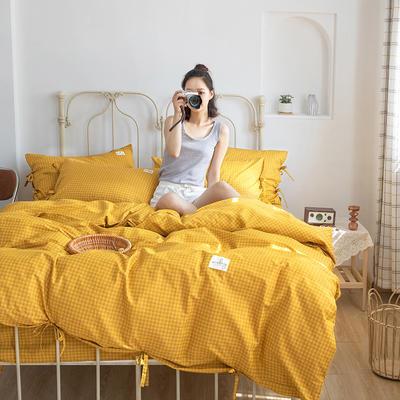 2020新款-纯棉格子绑带四件套 床单款四件套1.5m(5英尺)床 初爱-梵