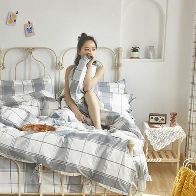 2020新款-纯棉格子绑带四件套 床单款四件套1.5m(5英尺)床 初爱-卉