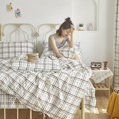 2020新款-纯棉格子绑带四件套 床单款四件套1.5m(5英尺)床 初爱-律