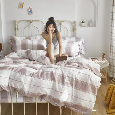 2020新款-纯棉格子绑带四件套 床单款四件套1.5m(5英尺)床 初爱-芋