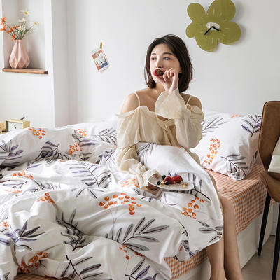 2020新款-纯棉系列四件套 床单款四件套1.5m(5英尺)床 果子树下