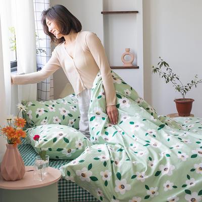 2020新款-纯棉系列四件套 床单款四件套1.5m(5英尺)床 茉香奶绿
