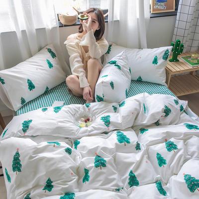 2020新款-纯棉系列四件套 床单款四件套1.5m(5英尺)床 四季奶青