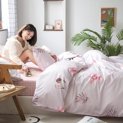 2020新款-纯棉系列四件套 床单款四件套1.5m(5英尺)床 一朵粉色