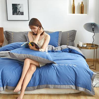 2020新款-宽边纯色双拼绣花系列四件套 床单款四件套1.8m(6英尺)床 闪-宝石蓝-灰