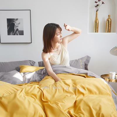 2020新款-宽边纯色双拼绣花系列四件套 床单款四件套1.8m(6英尺)床 闪-布丁黄-灰