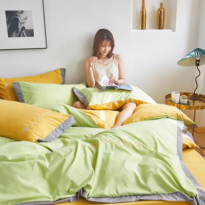 2020新款-宽边纯色双拼绣花系列四件套 床单款四件套1.8m(6英尺)床 闪-芥末绿-黄