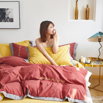 2020新款-宽边纯色双拼绣花系列四件套 床单款四件套1.8m(6英尺)床 闪-落日红-黄