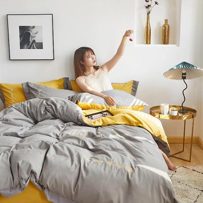 2020新款-宽边纯色双拼绣花系列四件套 床单款四件套1.8m(6英尺)床 闪-深空灰-黄