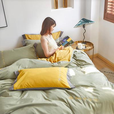2020新款-宽边纯色双拼绣花系列四件套 床单款四件套1.8m(6英尺)床 闪-四季青-黄