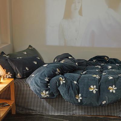 2020新款-牛奶绒印花系列四件套 1.8m床单款四件套 小雏菊-灰