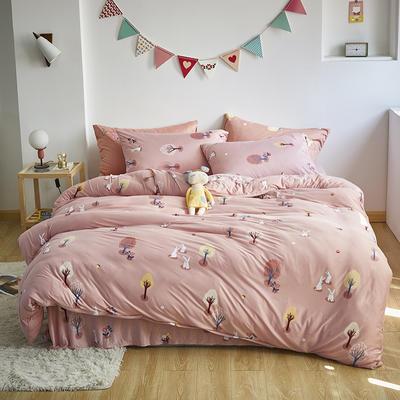 2020新款-针织棉四件套 1.5m床单款四件套 兔子乐园