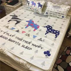 舒曼妮家纺-3D数码提花三件套凉席床笠款 床笠款(1.5m床) 3只小马