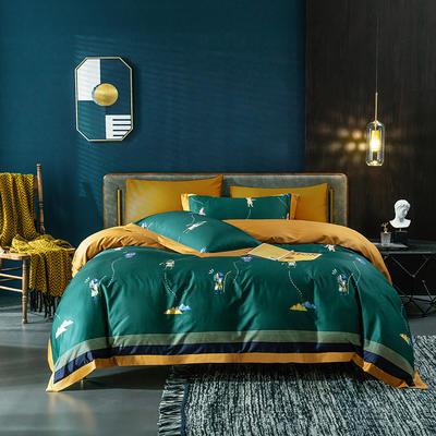 2020新款60长绒棉数码印花四件套 1.8m床单款四件套 埃及文明-绿