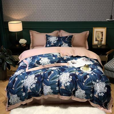 2020新款60长绒棉数码印花四件套 1.5m床单款四件套 满天星-蓝