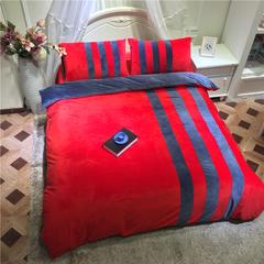 茵菲家纺 水晶绒 运动风多色双拼 保暖系列四件套 被套200*230 床单250*245 大红拼藏蓝
