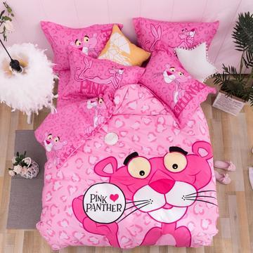 全棉粉红豹四件套 活性四件套 1.35m床及以下 床单款 粉红豹