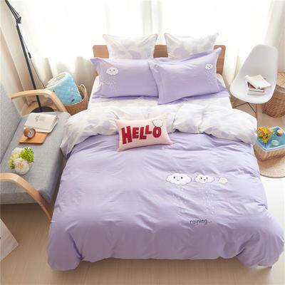 随性家居 绣花工艺四件套 吃货世界-卡其 1.5m(5英尺)床 吃货世界-蓝