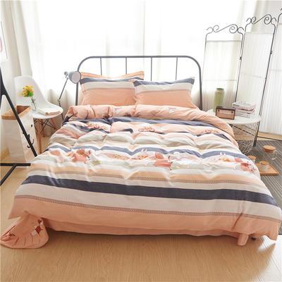 随性家居 纯棉阳绒四件套贡缎磨毛 爱的蒲公英 1.5m(5英尺)床 动物游记
