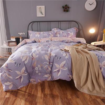 随性家居 纯棉阳绒四件套贡缎磨毛 爱的蒲公英 1.5m(5英尺)床 清雅叶语