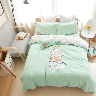 1606-绣花工艺四件套 标准(200x230cm) 叠罗汉-绿