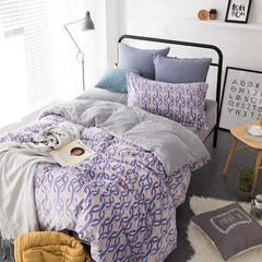 2201-雕花绒四件套-随性家居 标准1.5/1.8米床(床单款) 月光恋曲