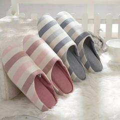 拖鞋-无印风化纤满口拖鞋 37-38 蓝条