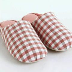 拖鞋-无印风化纤满口拖鞋 37-38 粉格