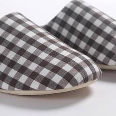 拖鞋-无印风化纤满口拖鞋 37-38 黑白格