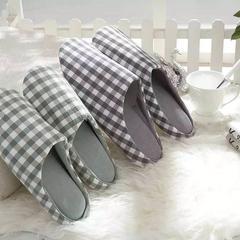 拖鞋-无印风化纤满口拖鞋 37-38 绿格
