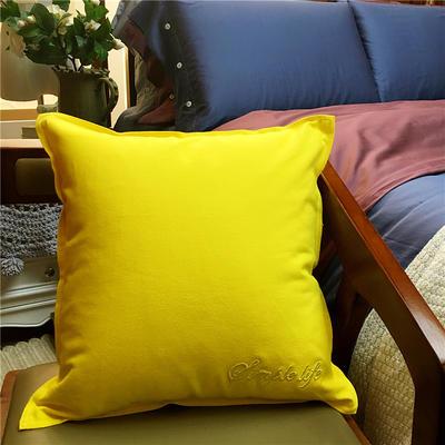 随性纯色靠垫 45x45cm 柠檬黄